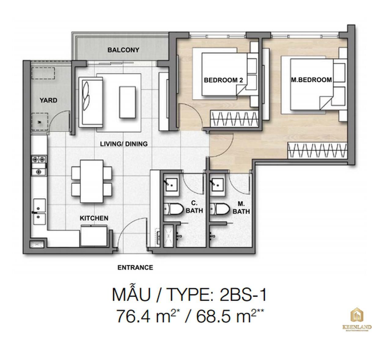 Thiết kế chi tiết căn hộ 2BS-1 dự án căn hộ chung cư Palm Heights Quận 2