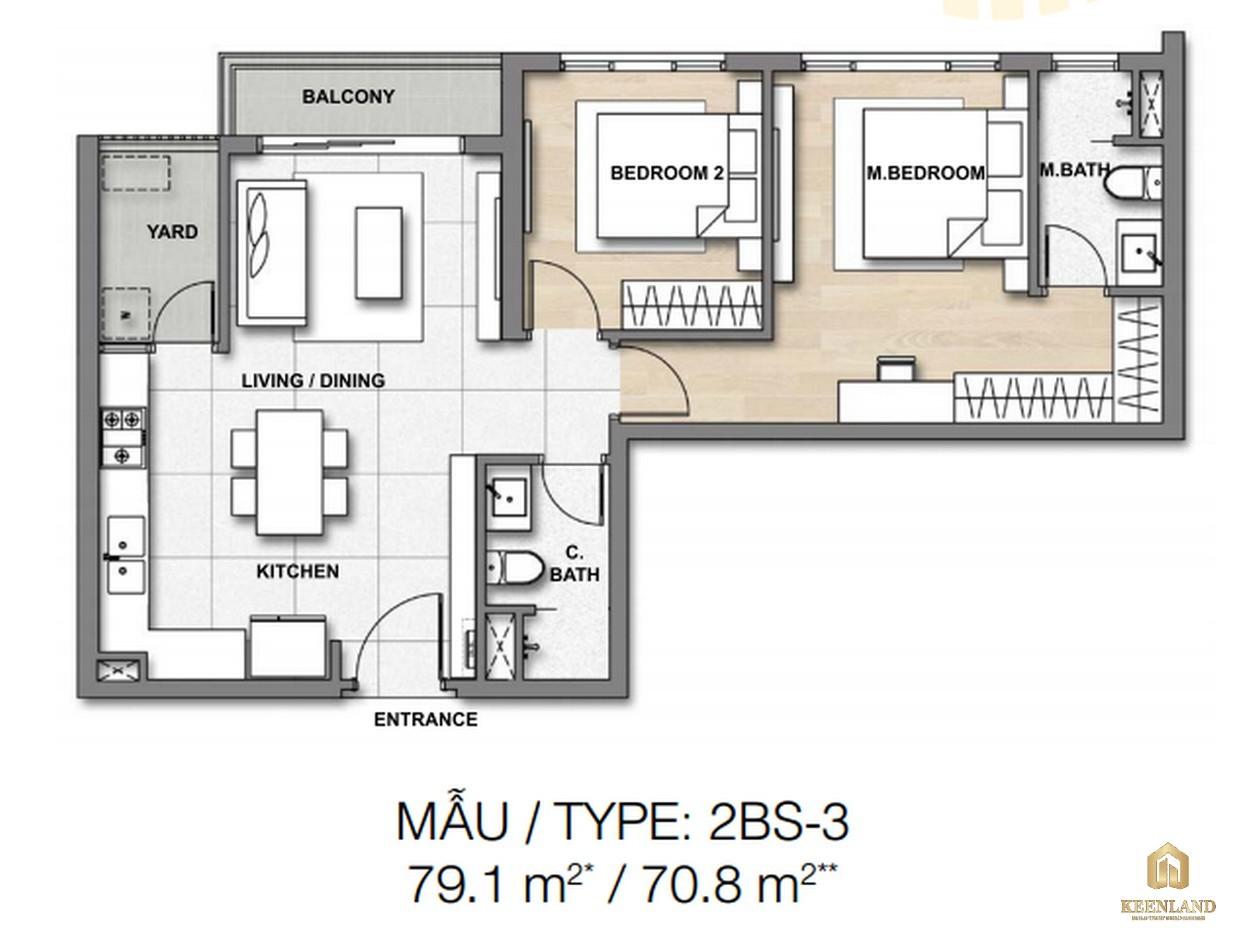 Thiết kế chi tiết căn hộ 2BS-3 dự án căn hộ chung cư Palm Heights Quận 2