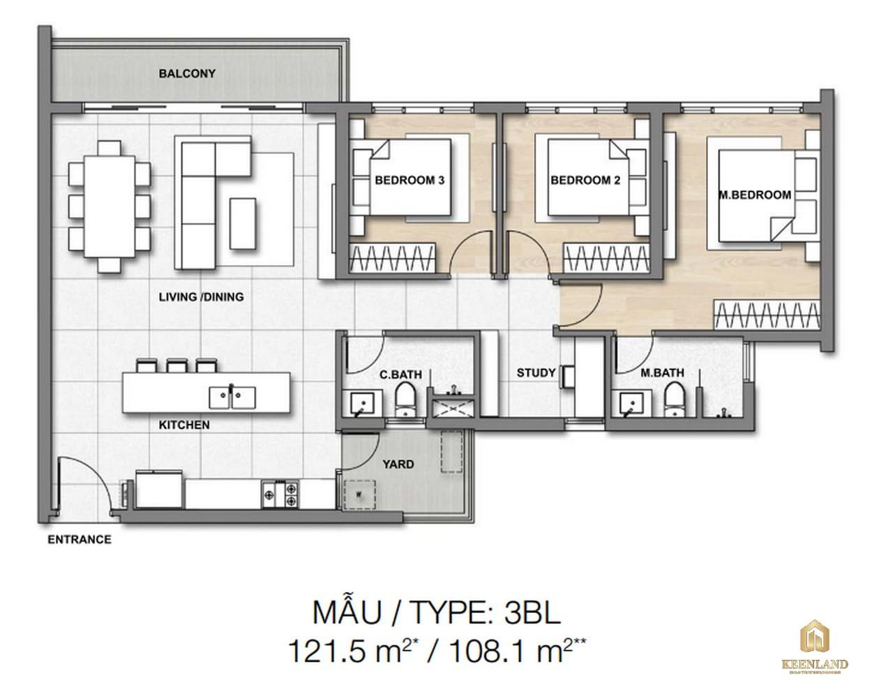 Thiết kế chi tiết căn hộ 3BL dự án căn hộ chung cư Palm Heights Quận 2