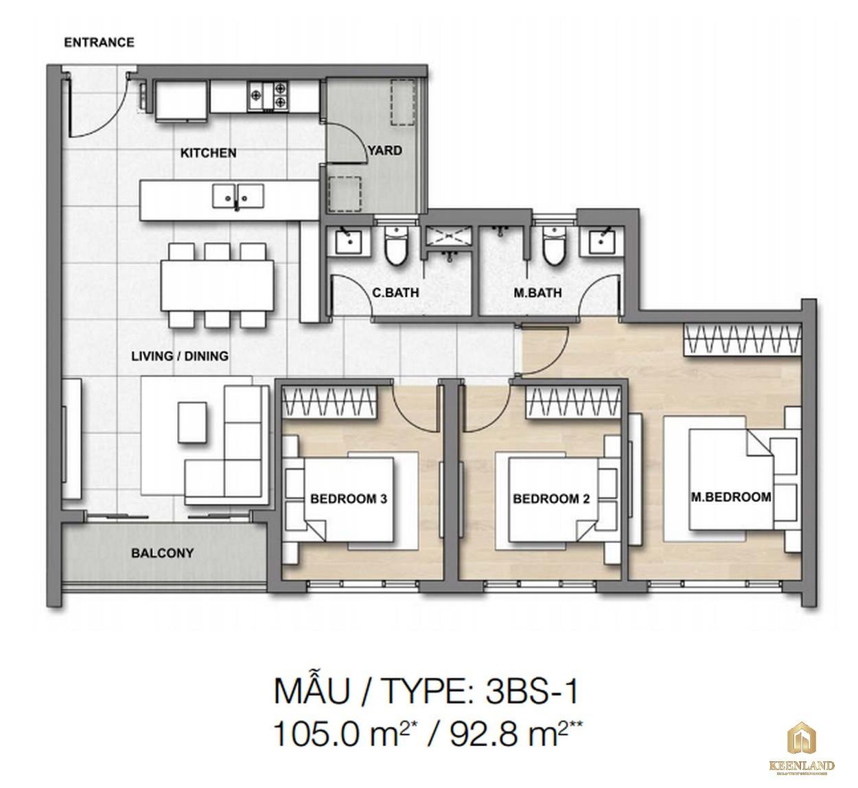 Thiết kế chi tiết căn hộ 3BS-1 dự án căn hộ chung cư Palm Heights Quận 2
