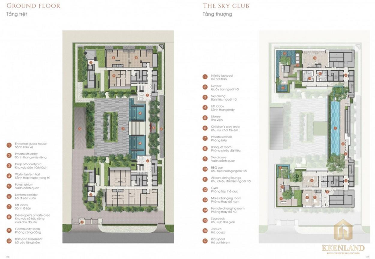 Mặt bằng tầng trệt và tiện ích dự án The Marq Quận 1