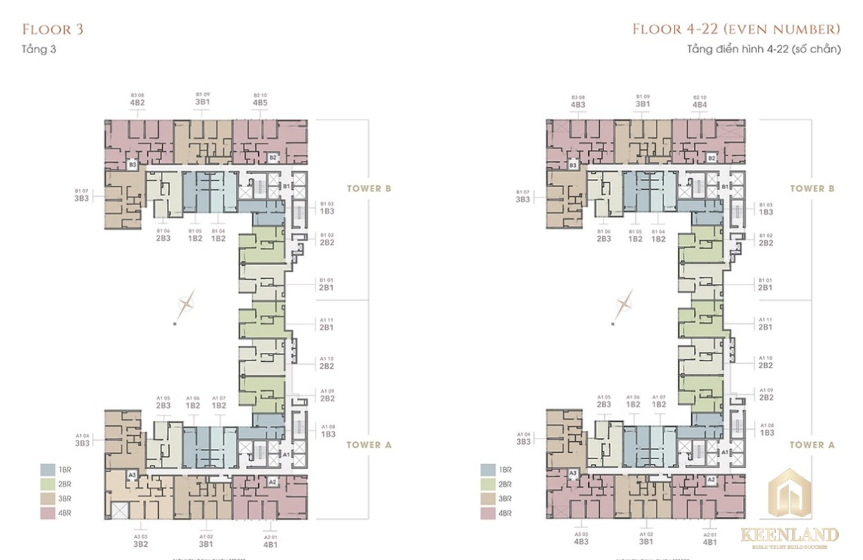 Mặt bằng tầng 3-22 dự án The Marq Quận 1