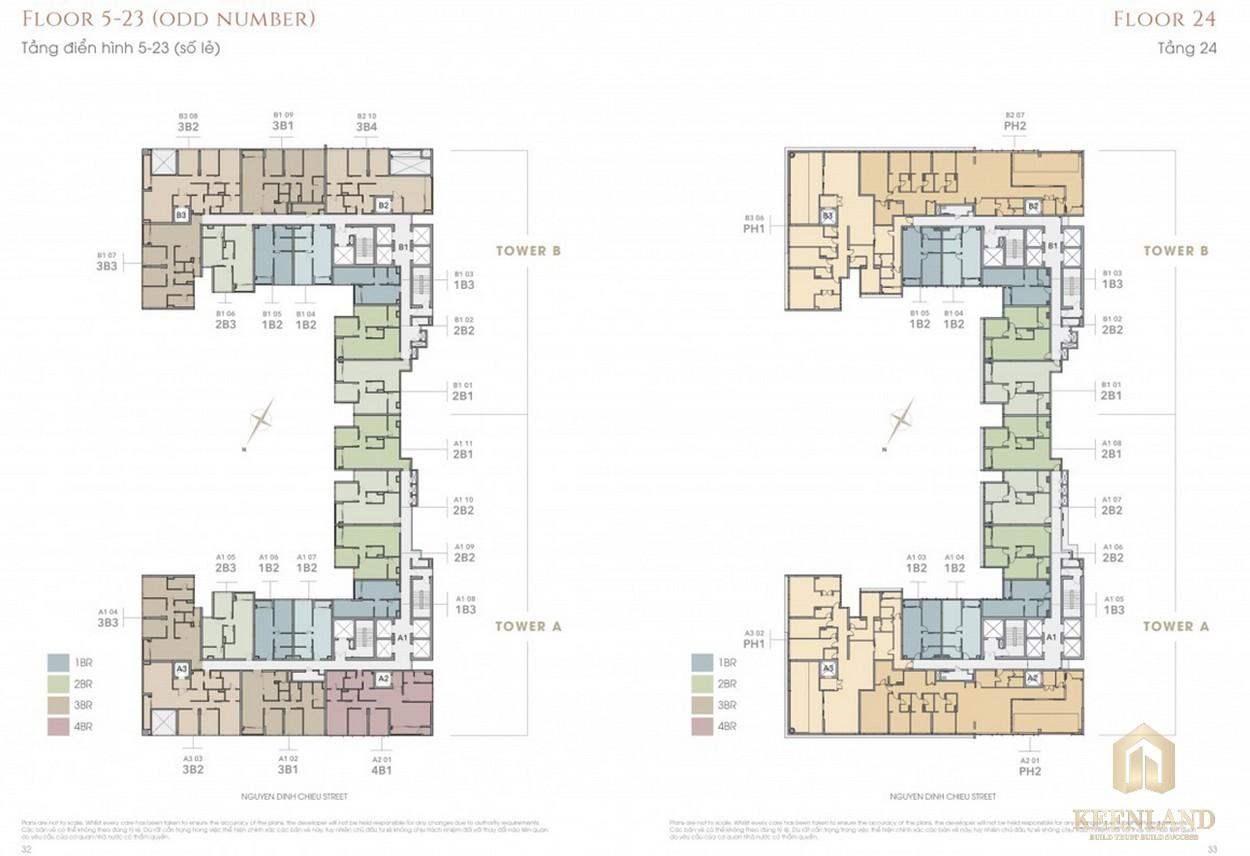 Mặt bằng tầng 5-24 dự án The Marq Quận 1