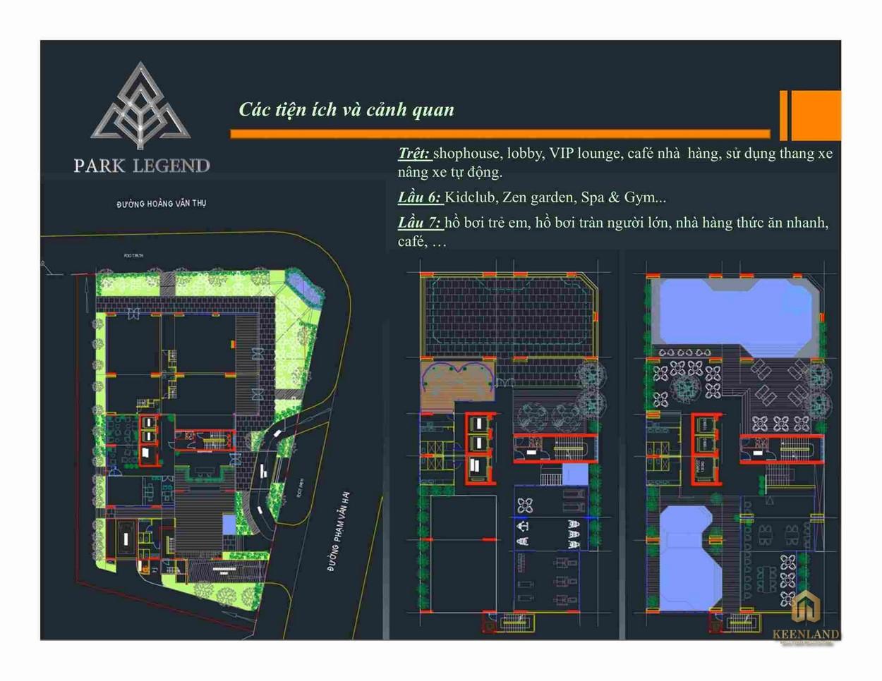 Mặt bằng tiện ích tầng trệt + tầng 6&7 dự án Park Legend Quận Tân Bình
