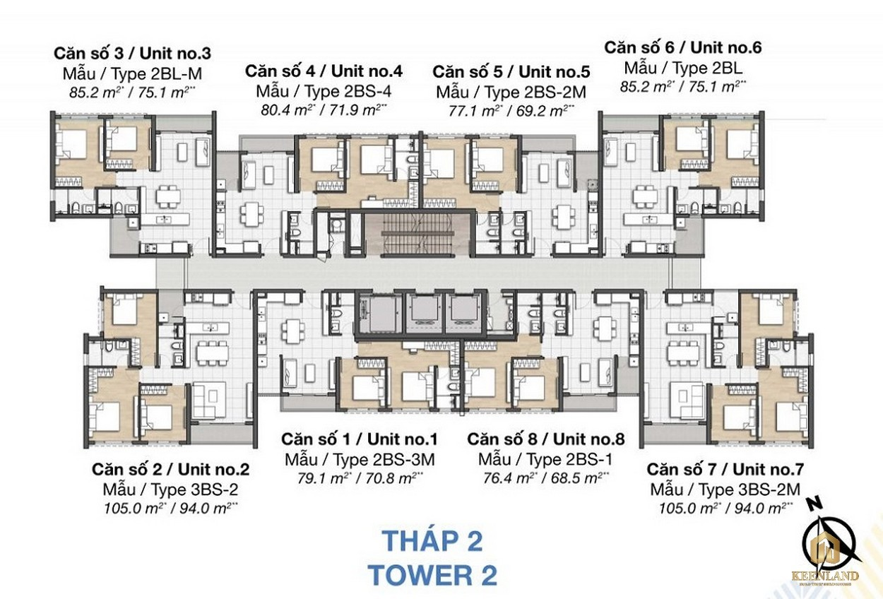 Mặt bằng dự án căn hộ chung cư Palm Heights Quận 2 - THÁP 2