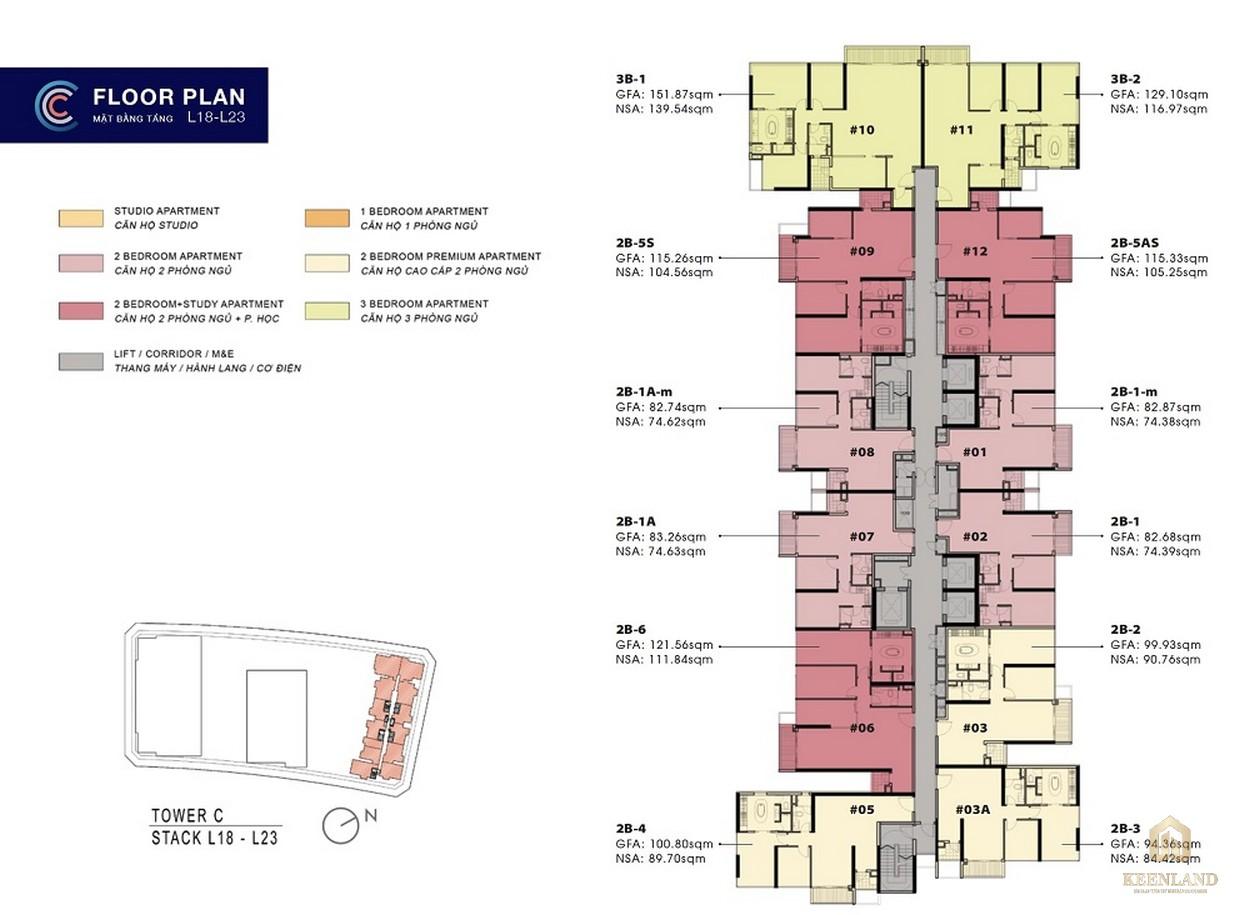 Mặt bằng tầng 18-23 căn hộ The Metropole Thủ Thiêm