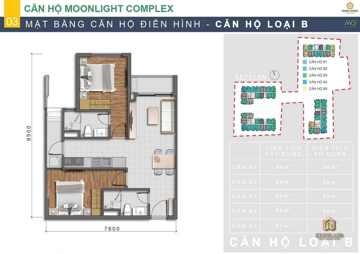 Thiết kế chi tiết căn hộ Moonlight Centre Point Bình Tân loại B