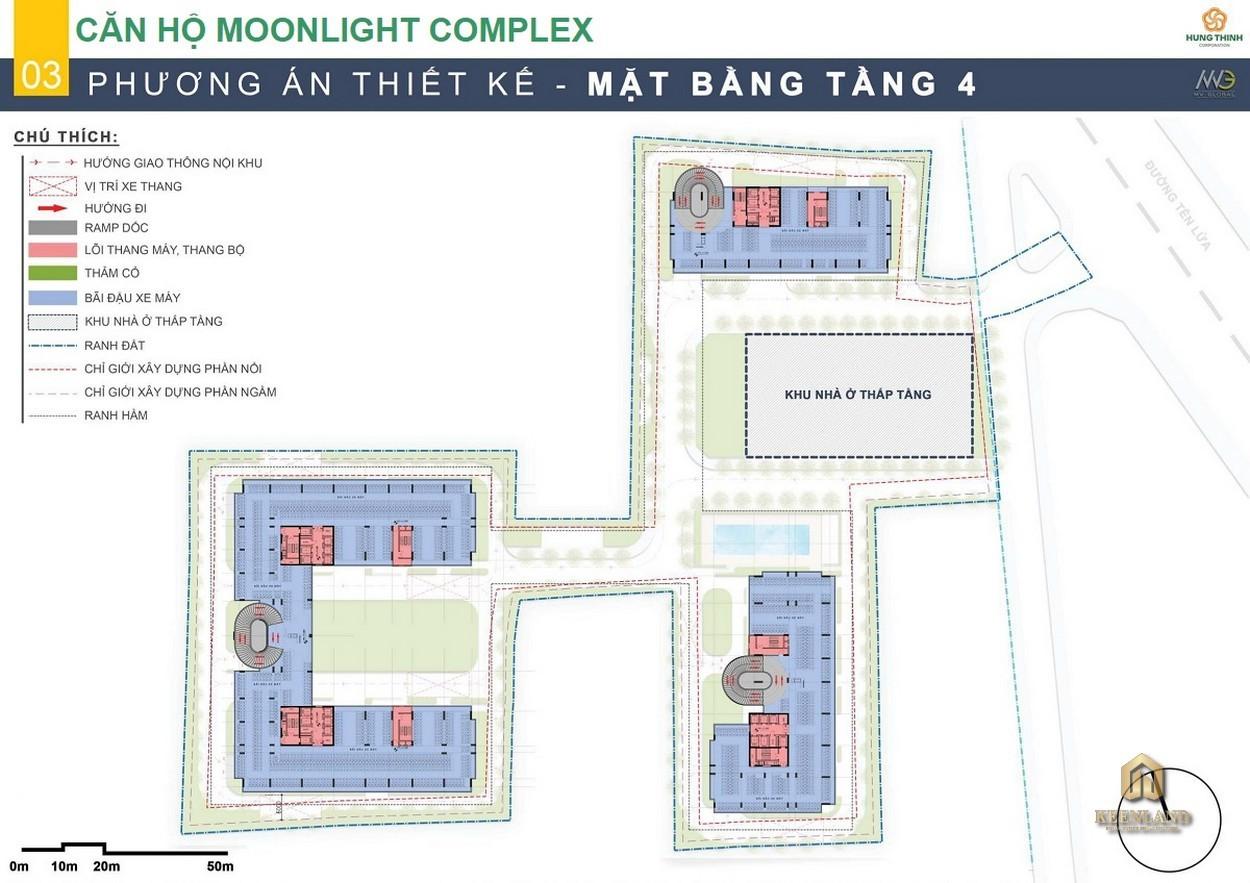 Mặt bằng tầng 4 dự án Moonlight Centre Point Bình Tân