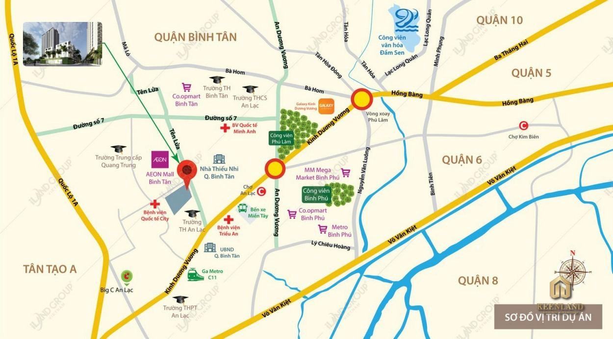 Vị trí dự án Moonlight Centre Point Tên Lửa Bình Tân