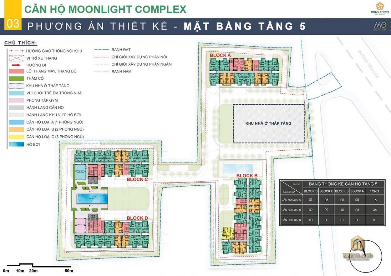 Mặt bằng tầng 5 dự án Moonlight Centre Point Bình Tân