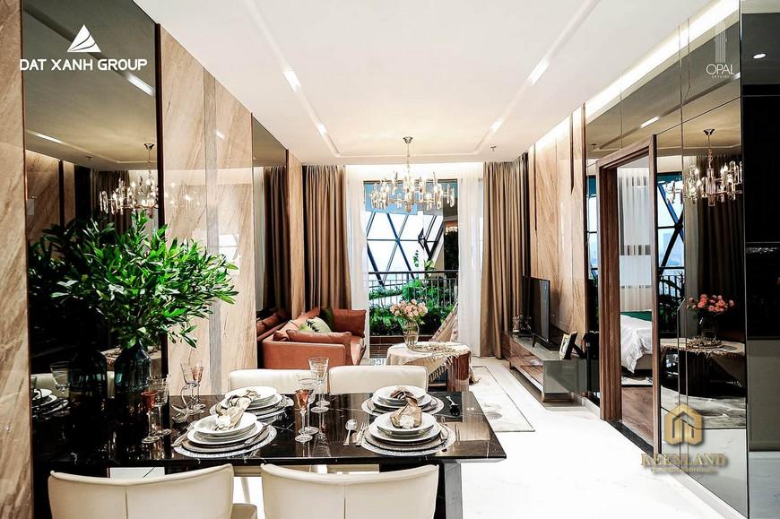 Nhà mẫu dự án Opal Cityview - Phòng khách căn hộ 2PN
