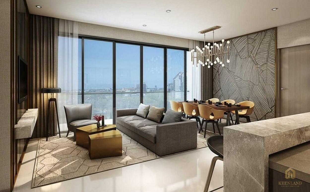 Phòng khách view hướng về thành phố nhà mẫu dự án căn hộ Empire City