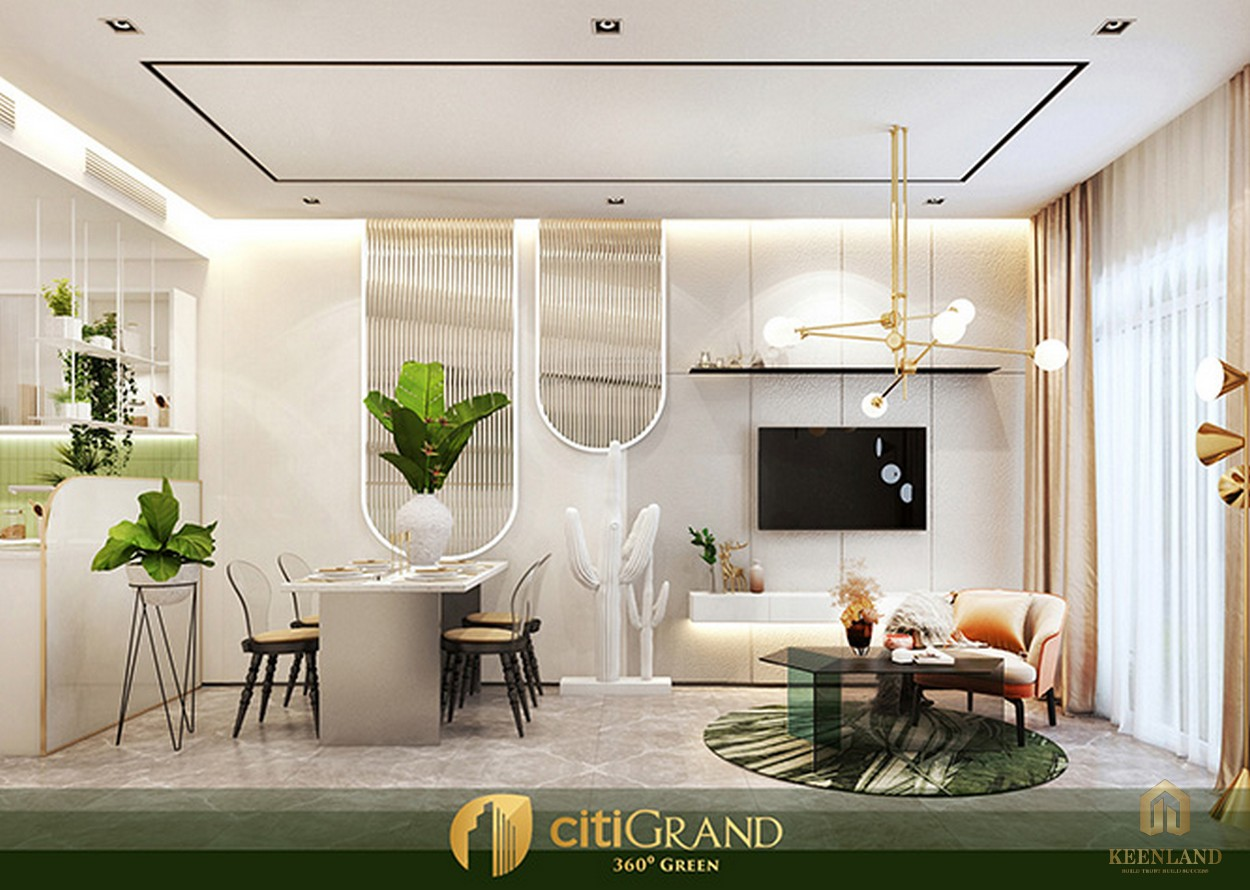 Phòng khách nhà mẫu căn hộ Citi Grand Quận 2