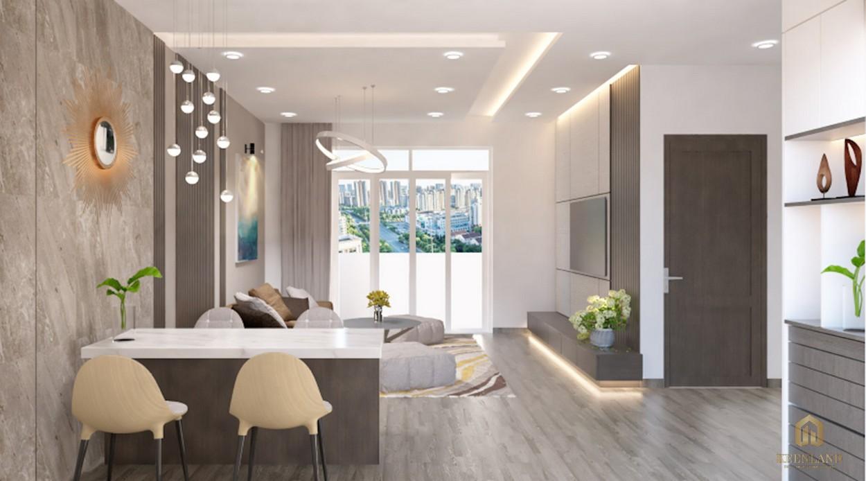 Phòng khách nhà mẫu dự án căn hộ Golden Grand quận 2