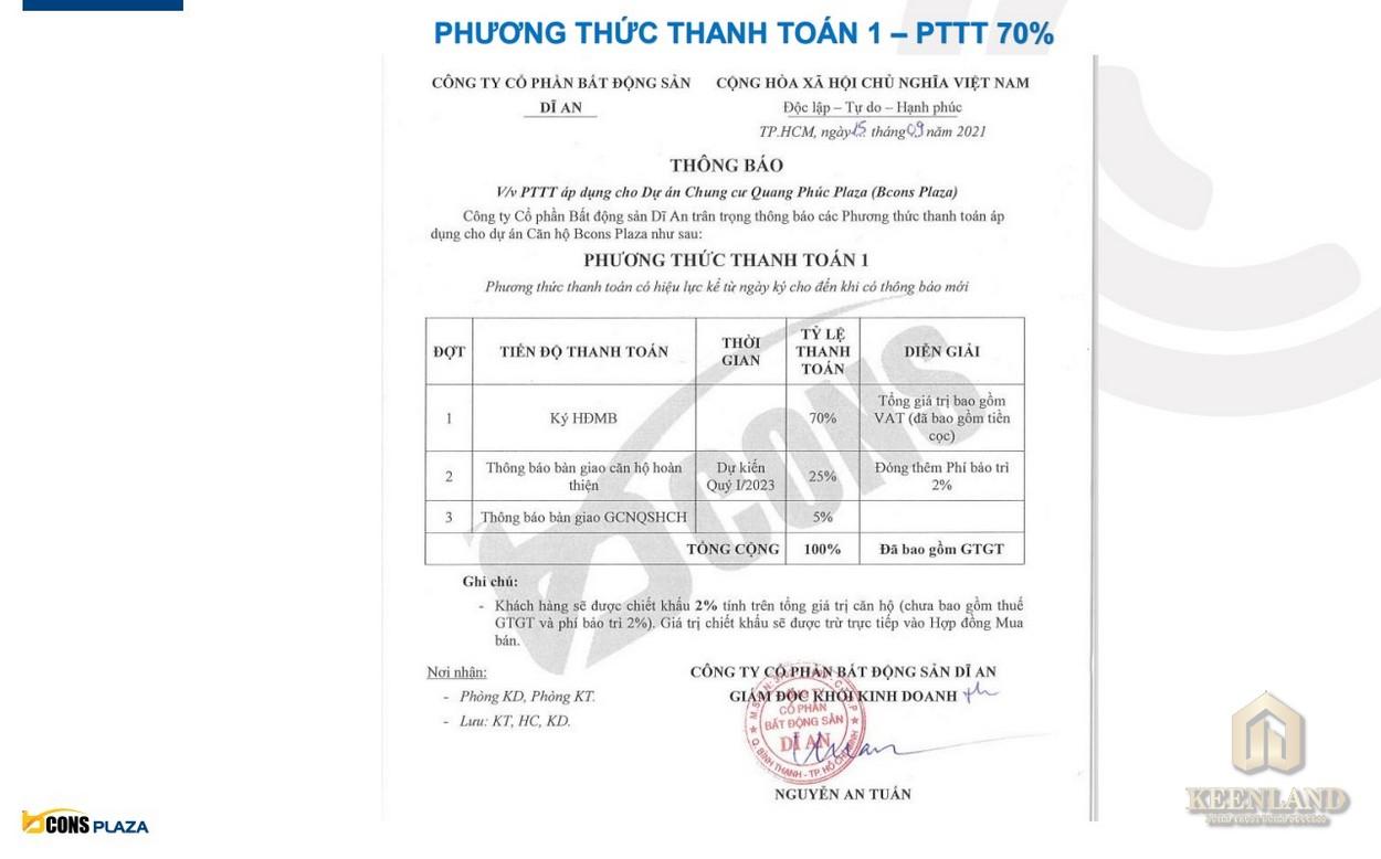 Phương thức thanh toán 70% dự án Bcons Plaza