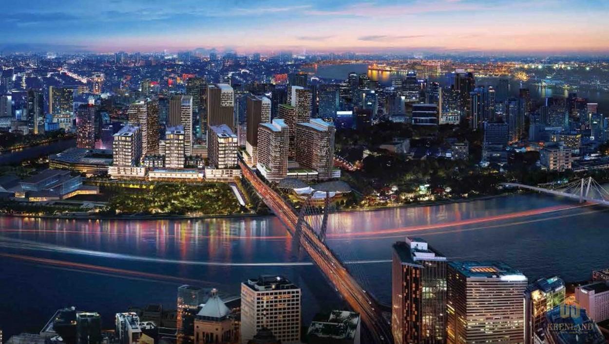 Phối cảnh căn hộ cao cấp The Metropole nhìn từ cầu Thủ Thiêm