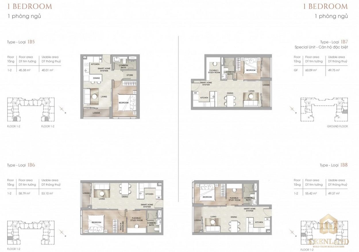 Thiết kế chi tiết căn hộ 1PN dự án chung cư cao cấp The Marq