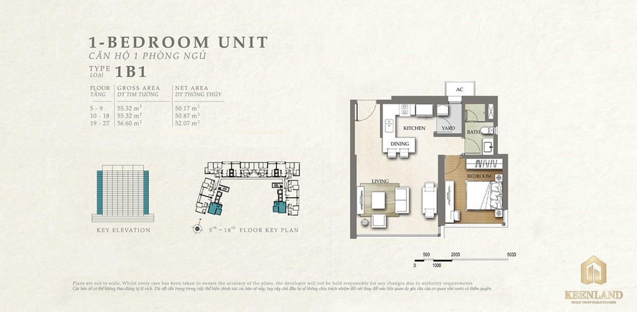 Thiết kế căn hộ 1B1 dự án Nassim Thảo Điền