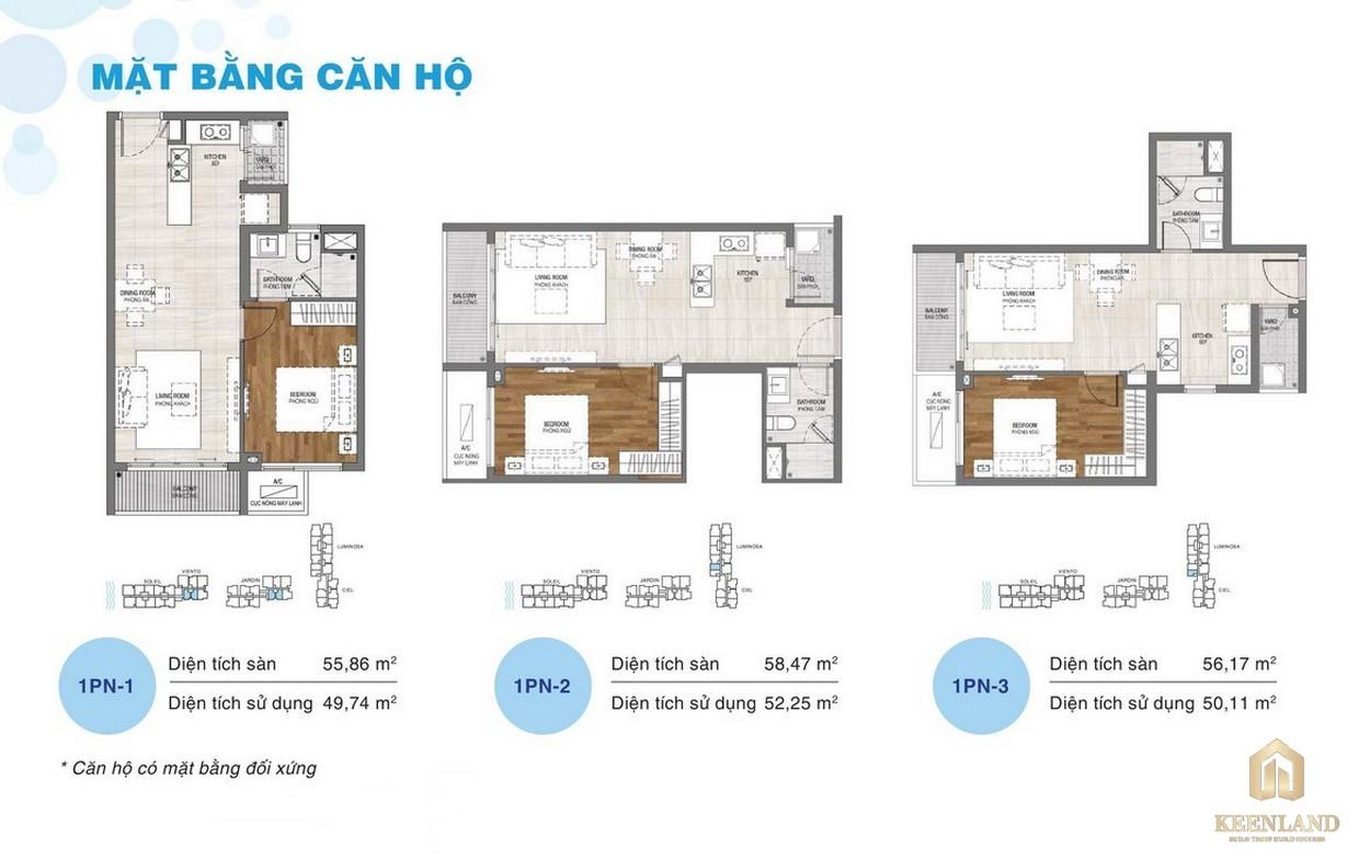 Thiết kế chi tiết căn hộ chung cư One Verandah Quận 2 - loại 1 phòng ngủ
