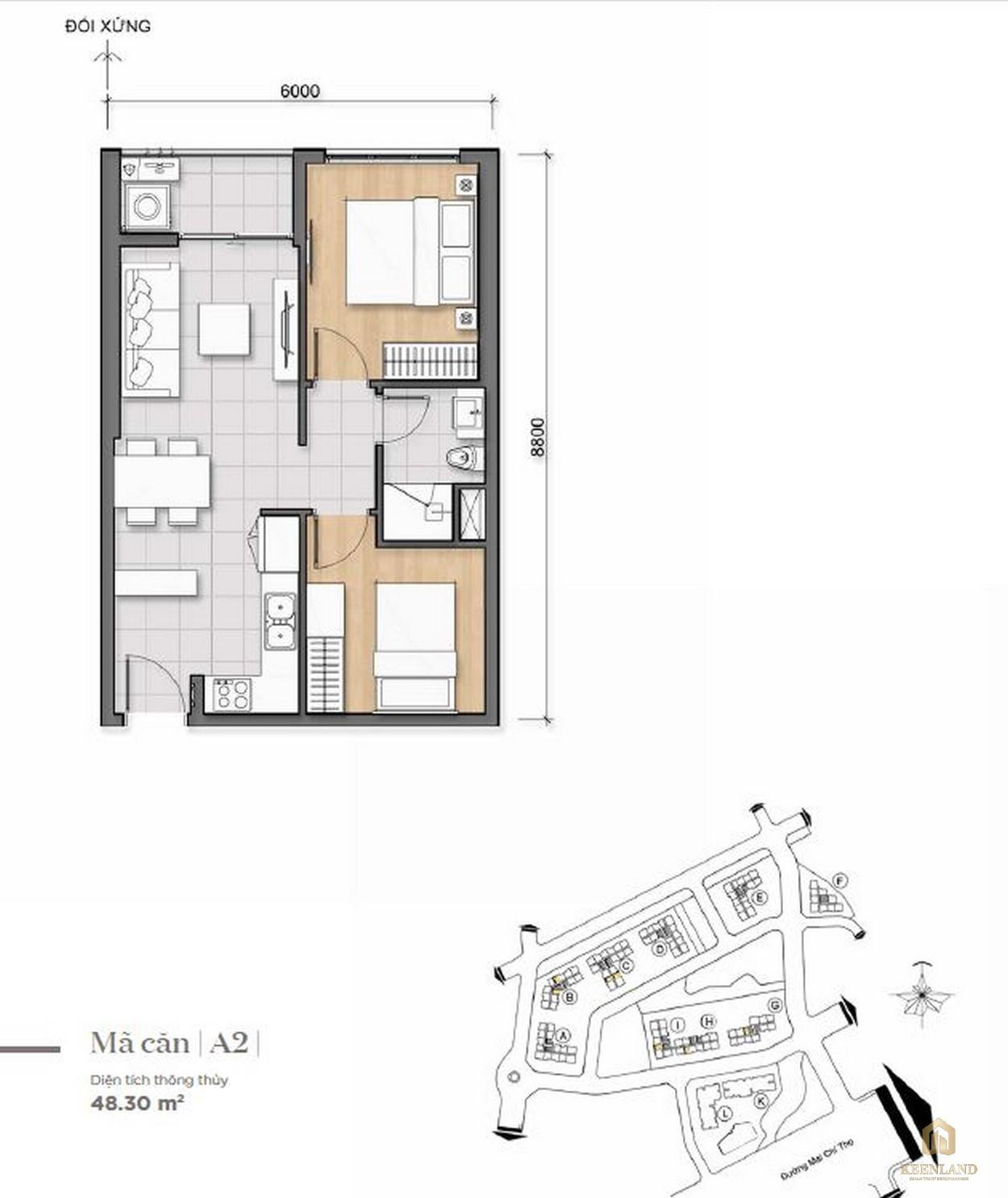 Thiết kế căn hộ 1PN của dự án Saigon Broadway