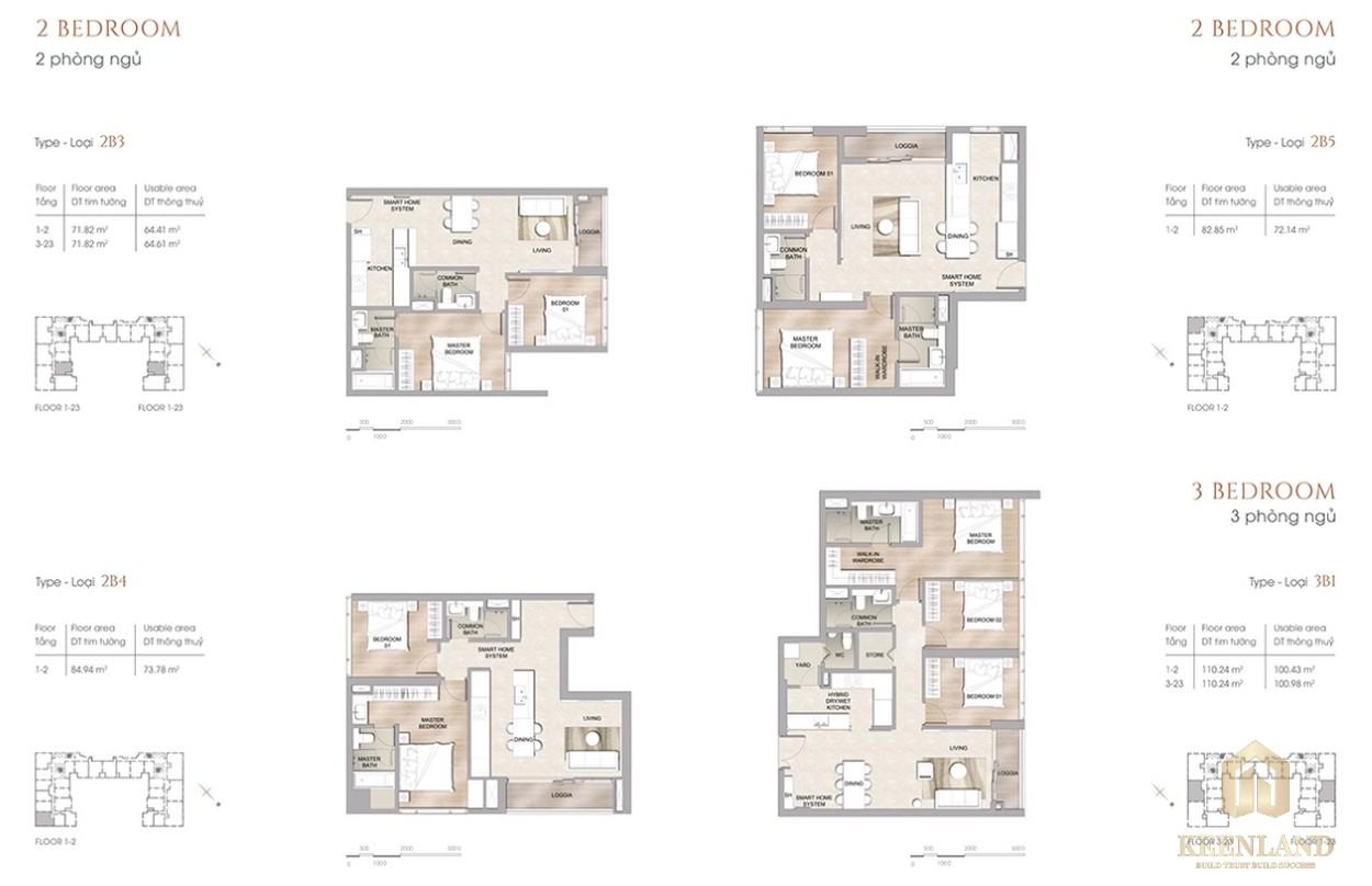 Thiết kế chi tiết căn hộ 2PN dự án chung cư cao cấp The Marq