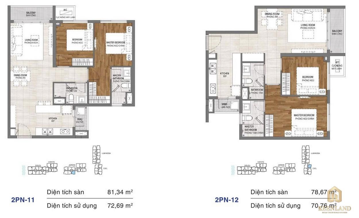 Thiết kế chi tiết căn hộ chung cư One Verandah Quận 2 - loại 2 phòng ngủ 11-12