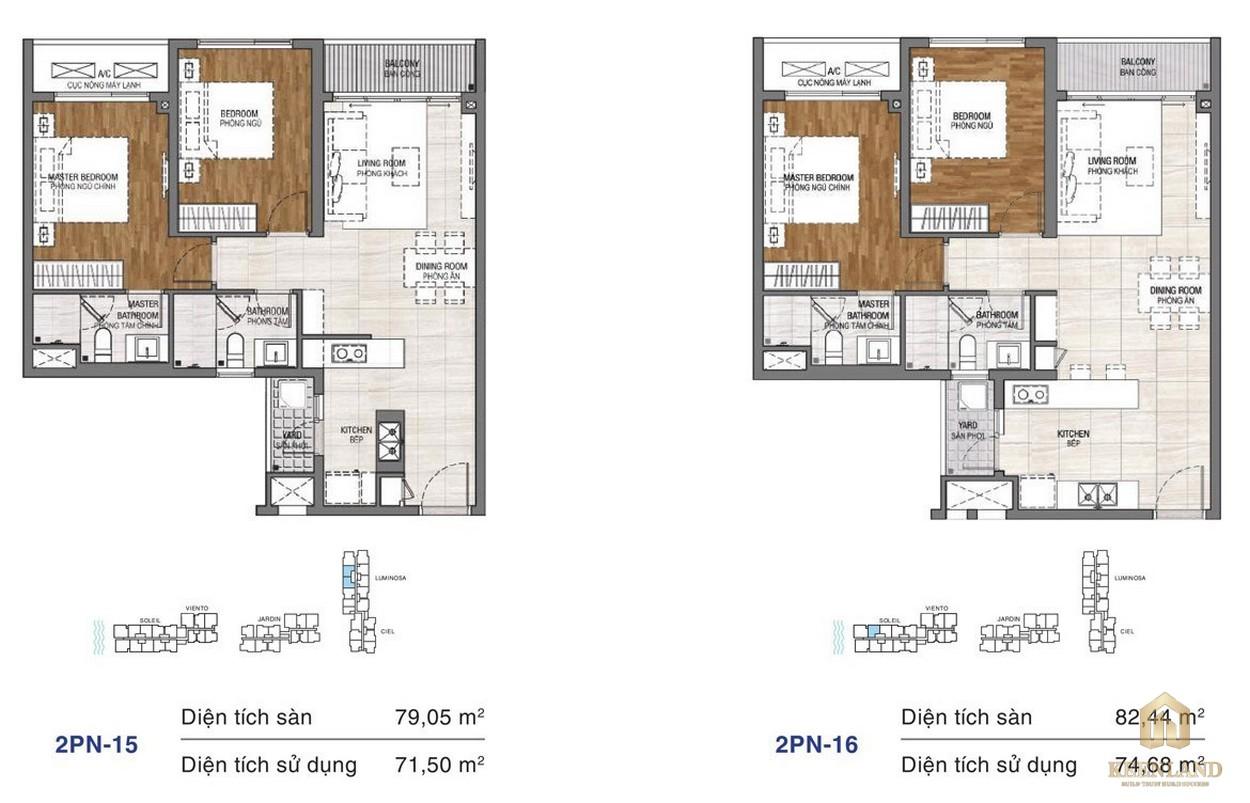 Thiết kế chi tiết căn hộ chung cư One Verandah Quận 2 - loại 2 phòng ngủ 15-16