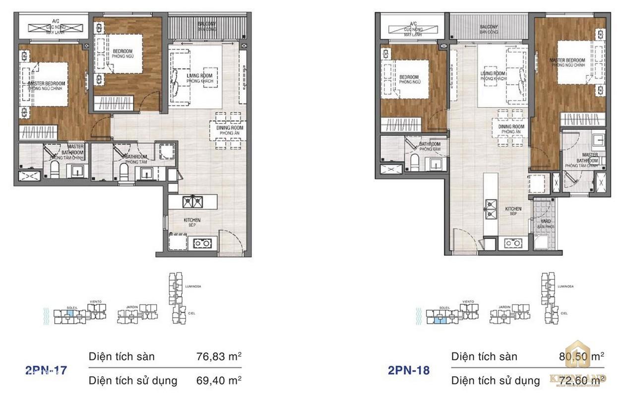Thiết kế chi tiết căn hộ chung cư One Verandah Quận 2 - loại 2 phòng ngủ 17-18