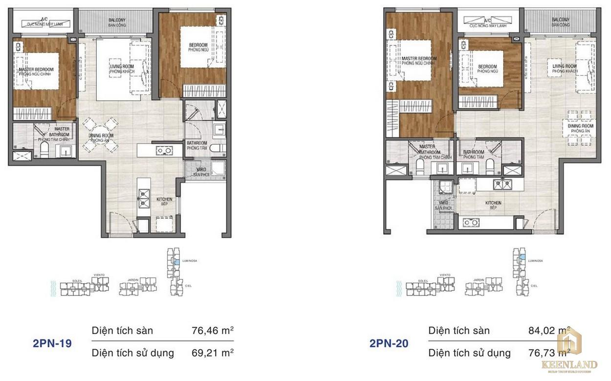 Thiết kế chi tiết căn hộ chung cư One Verandah Quận 2 - loại 2 phòng ngủ 19-20