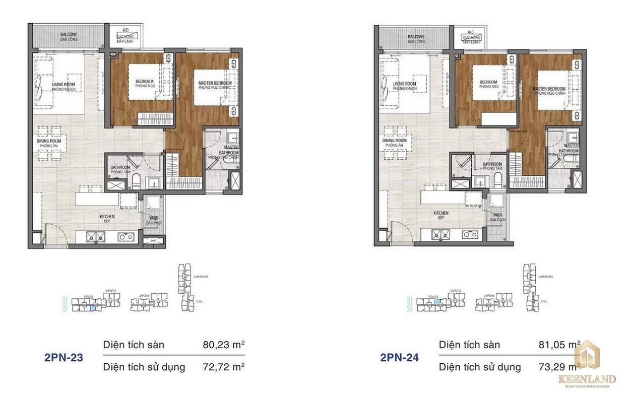 Thiết kế chi tiết căn hộ chung cư One Verandah Quận 2 - loại 2 phòng ngủ 23-24