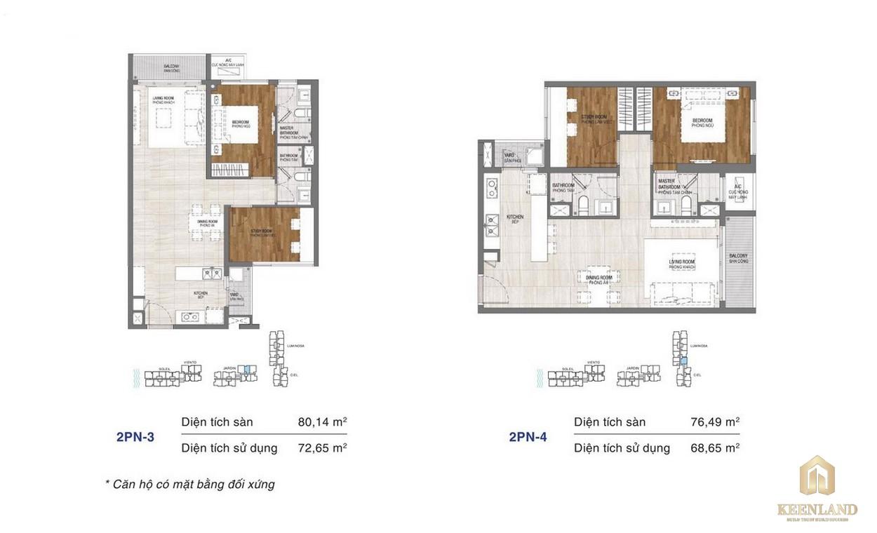 Thiết kế chi tiết căn hộ chung cư One Verandah Quận 2 - loại 2 phòng ngủ 3-4