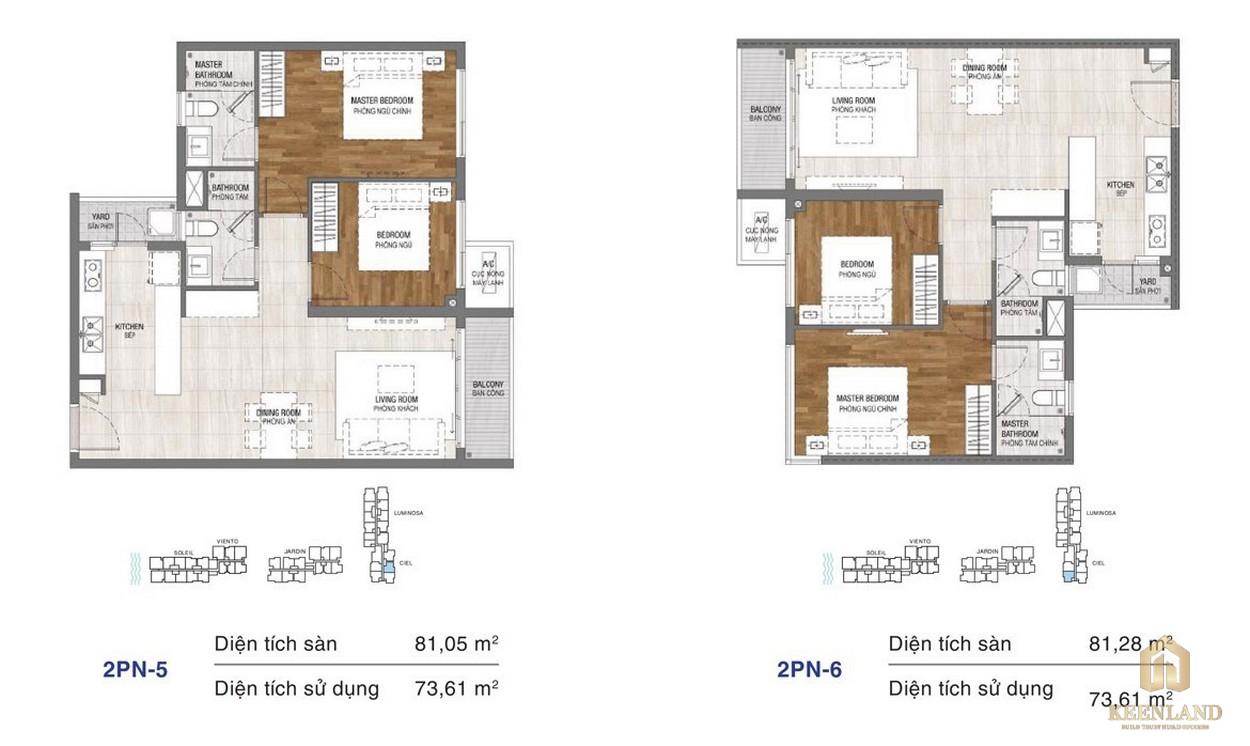 Thiết kế chi tiết căn hộ chung cư One Verandah Quận 2 - loại 2 phòng ngủ 5-6