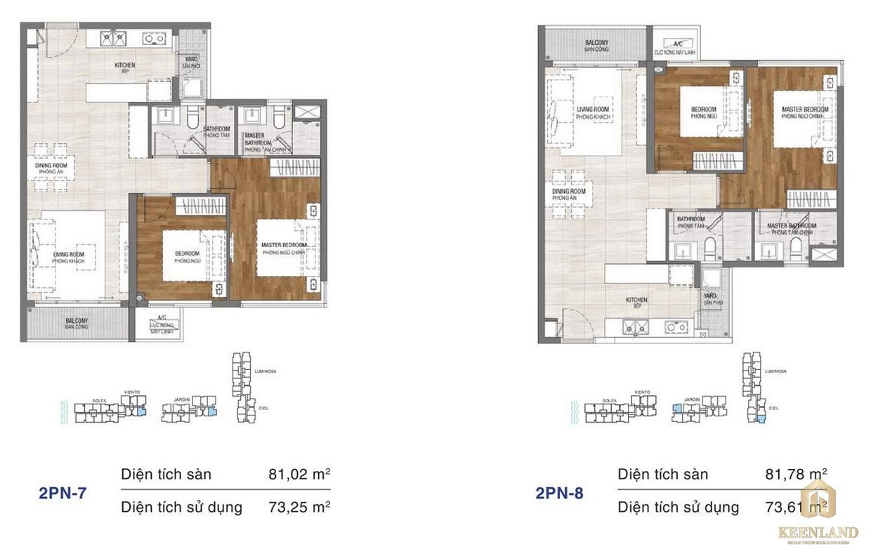 Thiết kế chi tiết căn hộ chung cư One Verandah Quận 2 - loại 2 phòng ngủ 7-8