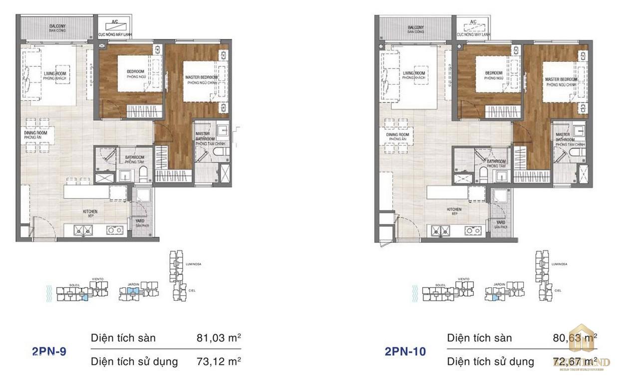 Thiết kế chi tiết căn hộ chung cư One Verandah Quận 2 - loại 2 phòng ngủ 9-10
