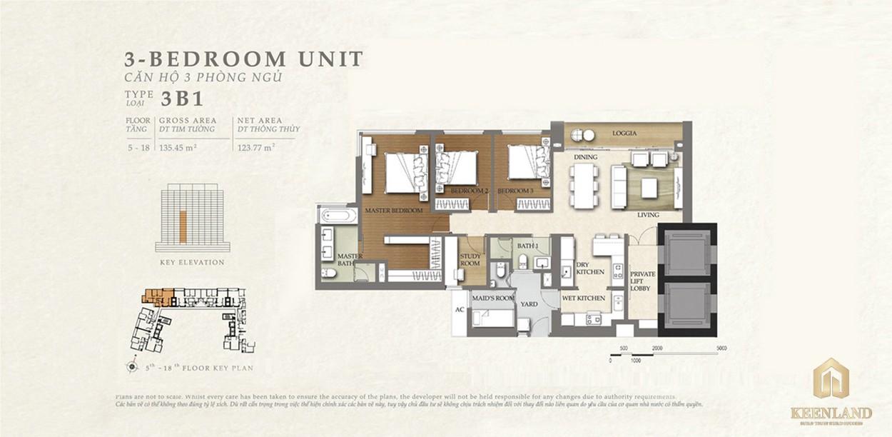 Thiết kế căn hộ 3B1 dự án Nassim Thảo Điền