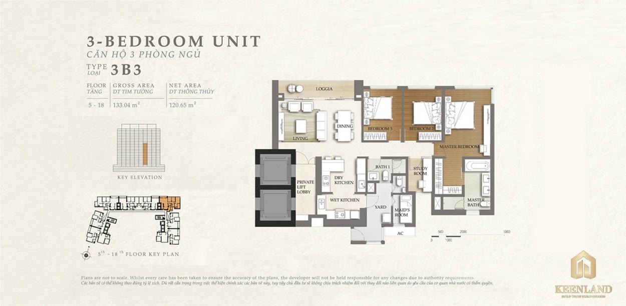 Thiết kế căn hộ 3B3 dự án Nassim Thảo Điền