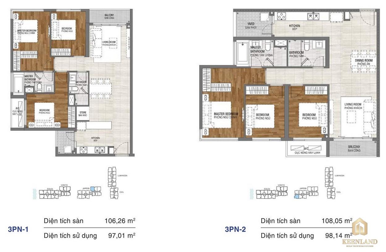 Thiết kế chi tiết căn hộ chung cư One Verandah Quận 2 - loại 3 phòng ngủ 1-2