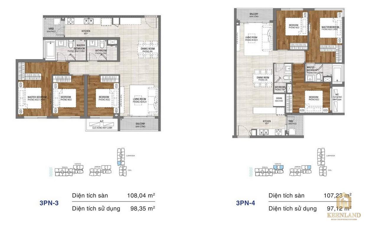 Thiết kế chi tiết căn hộ chung cư One Verandah Quận 2 - loại 3 phòng ngủ 3-4