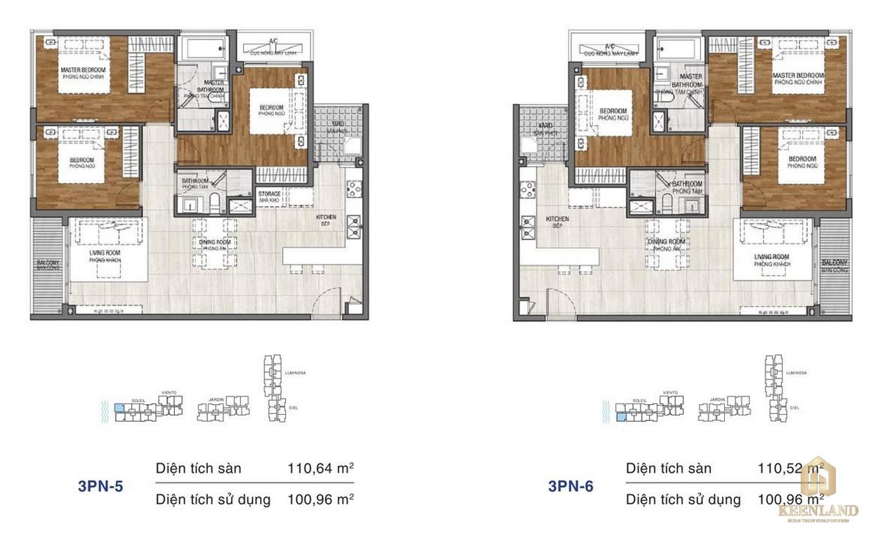 Thiết kế chi tiết căn hộ chung cư One Verandah Quận 2 - loại 3 phòng ngủ 5-6