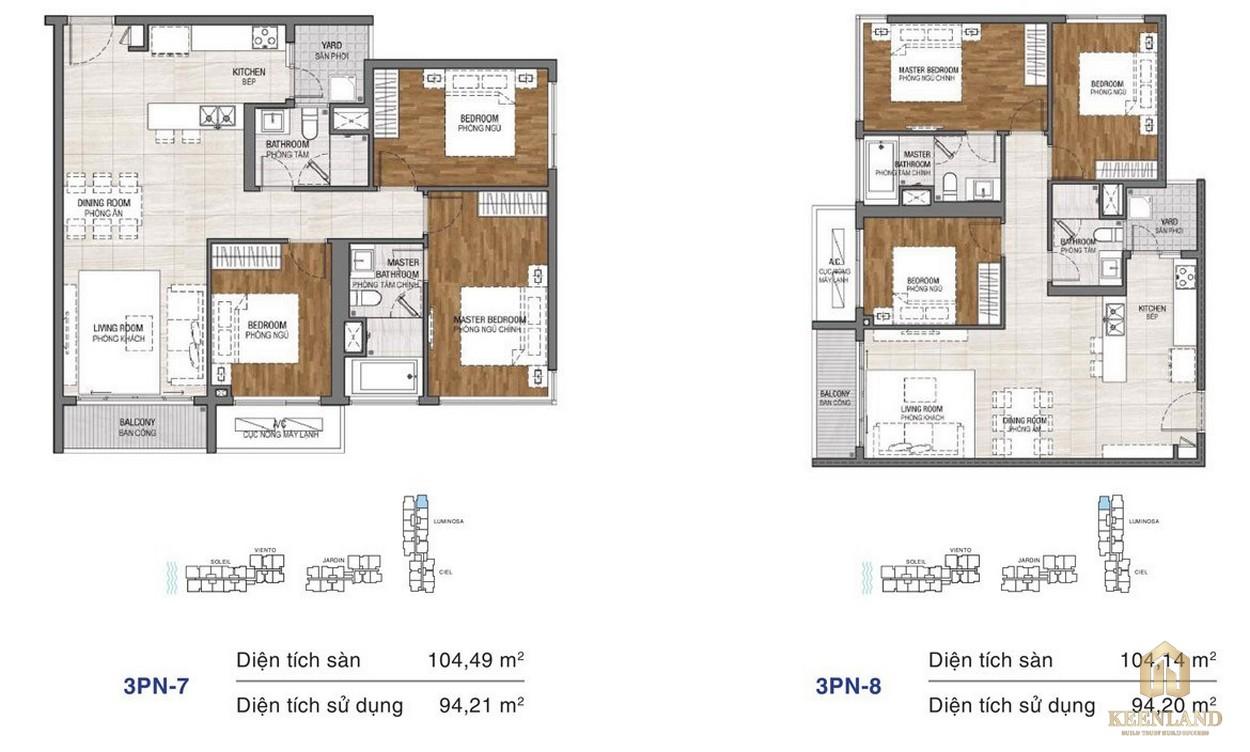 Thiết kế chi tiết căn hộ chung cư One Verandah Quận 2 - loại 3 phòng ngủ 7-8