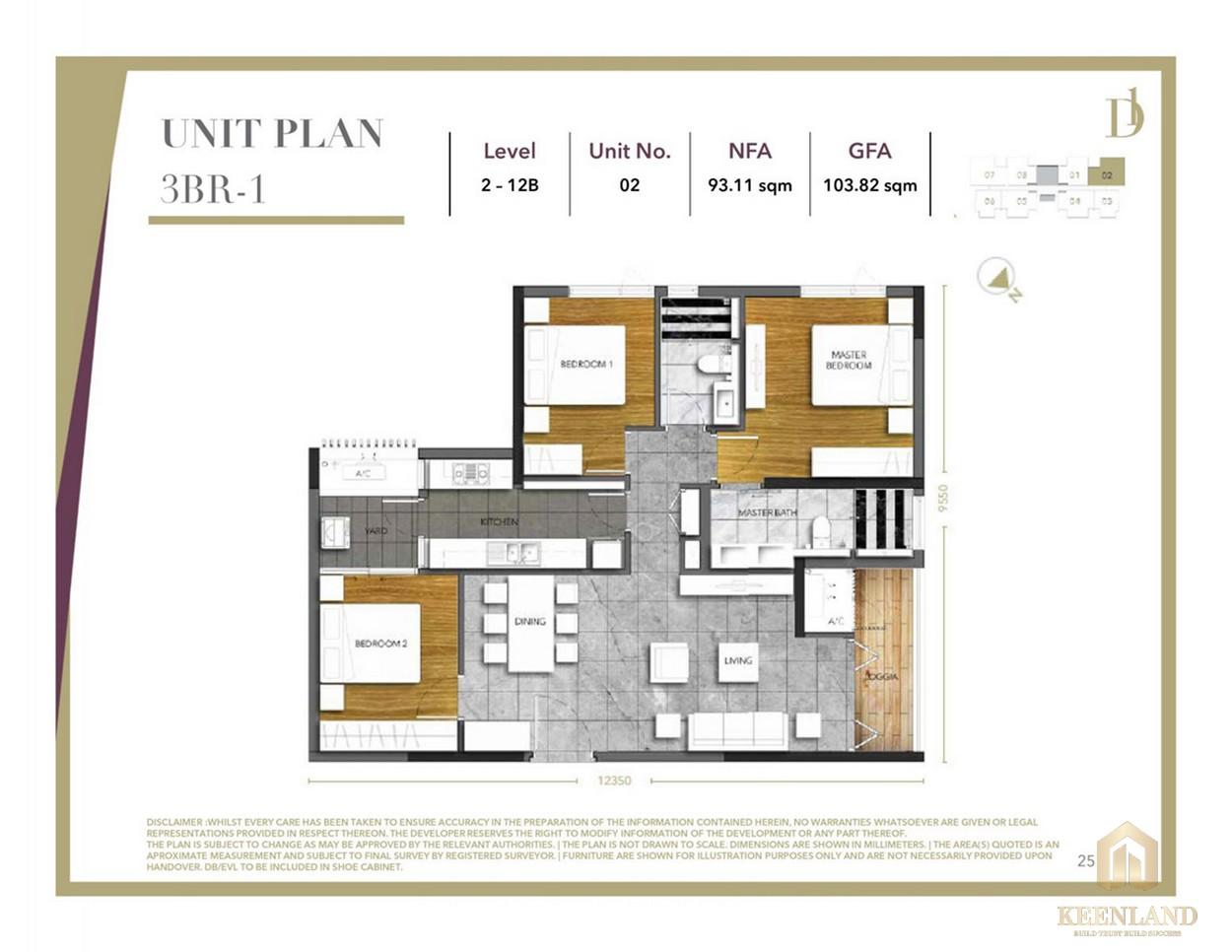 Thiết kế căn hộ 3 phòng ngủ D1 Mension