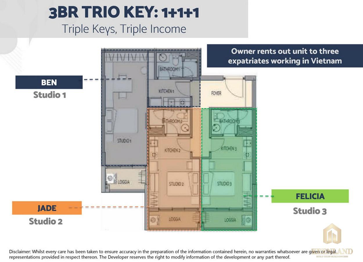 Mẫu thiết kế căn hộ 3 phòng ngủ Define Capitaland Quận 2