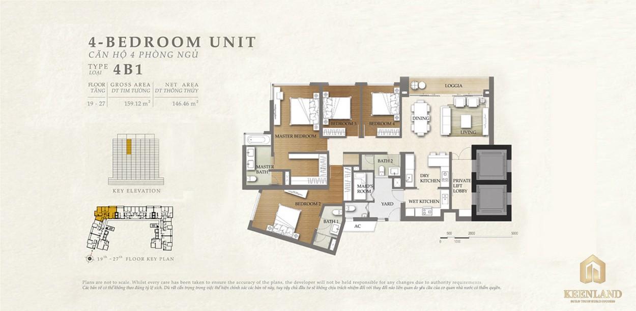Thiết kế căn hộ 4B1 dự án Nassim Thảo Điền