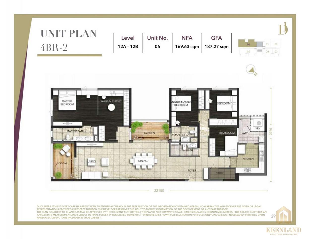 Thiết kế căn hộ 4 phòng ngủ D1 Mension