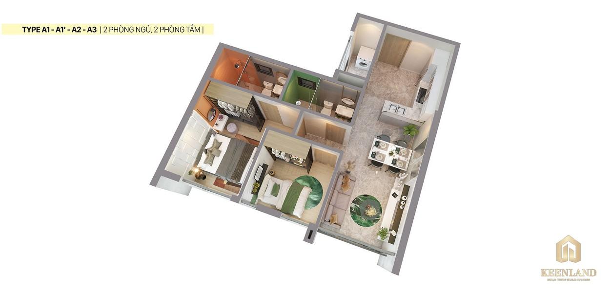 Thiết kế 3D căn hộ a1 a2 a3 Citi Grand Quận 2