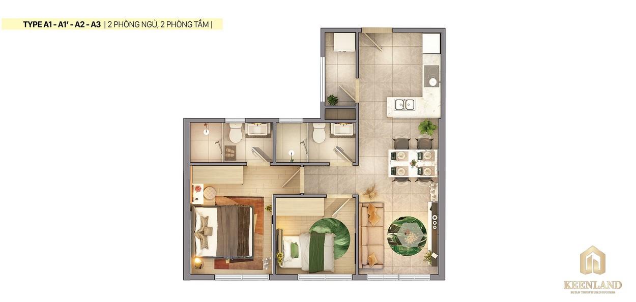 Thiết kế 2D căn hộ a1 a2 a3 Citi Grand Quận 2