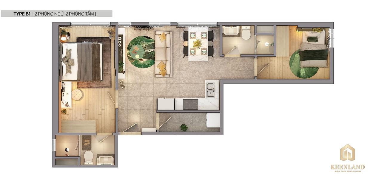 Thiết kế 2D căn hộ B1 dự án Citi Grand Quận 2