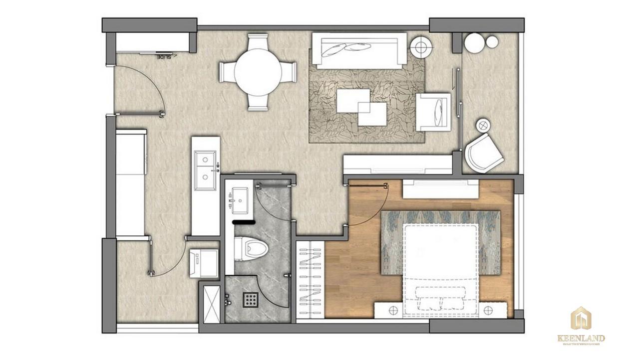 Thiết kế căn hộ 1PN tại Đảo Kim Cương Diamond Island