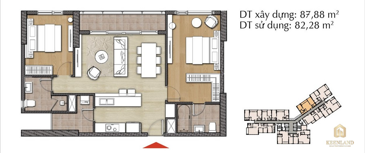 Thiết kế căn hộ 2PN - Mã 2A tại Đảo Kim Cương Diamond Island