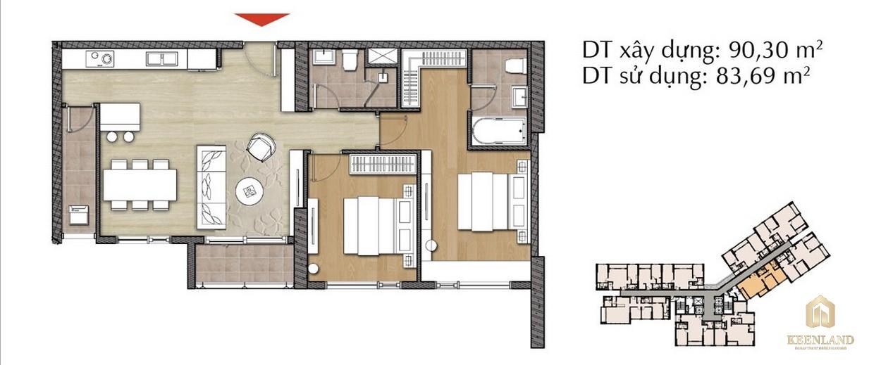 Thiết kế căn hộ 2PN - Mã 2B tại Đảo Kim Cương Diamond Island